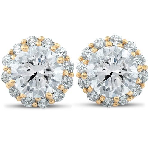 2 5/8 Ct. Round Halo Diamond Studs 14k Yellow Gold Earrings ((G-H), SI(1)-SI(2))