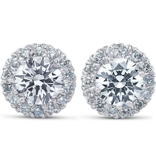 2 3/4 Ct Round Halo Diamond Studs 14k White Gold Enhanced 10.9mm (G-H, SI)