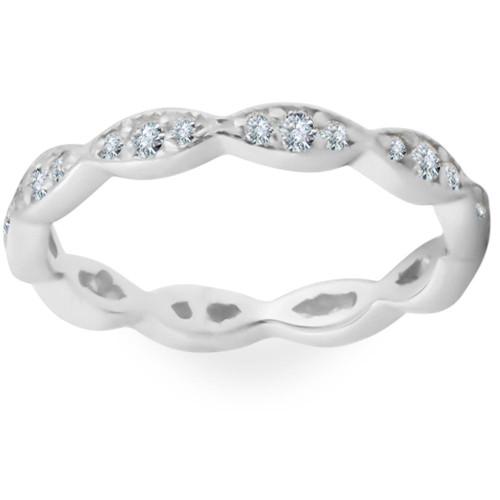 3/8ct Diamond Vintage Eternity Ring Stackable Womens Wedding Band 14k White Gold (H/I, I1)