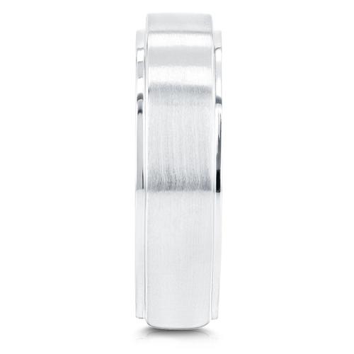 1/8 ct TDW Mens Brushed Diamond Wedding Ring 10k White Gold (G/H, I1-I2)