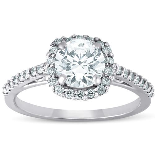 1Ct Cushion Halo Diamond Engagement Ring 14k White Gold SZ 7 (G, SI)