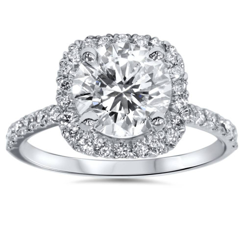 Platinum 1 ct Diamond Engagement Ring Cushion Halo Ring (G-H, SI1-SI2)