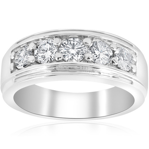 1 ct Mens Diamond Five Stone Wedding Ring Platinum (G/H, I1)