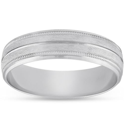 Platinum 5mm Brushed Ring Mens Hand Carved Wedding Band