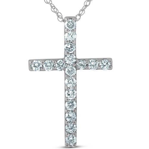 """1 Ct Diamond Cross 14k White Gold 18"""" Chain Womens Necklace 1 1/4"""" Tall (G/H, I1)"""