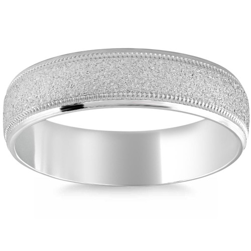 Platinum 7mm Flat Comfort Fit Brushed Wedding Band Mens Ring