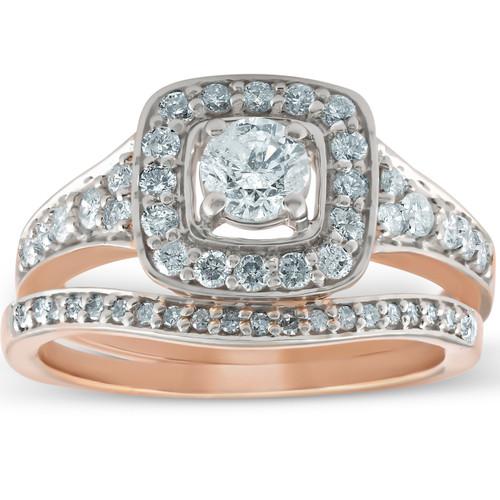 1 ct Cushion Halo Diamond Engagement Ring 10k Rose Gold Wedding Band Set (G/H, I1-I2)