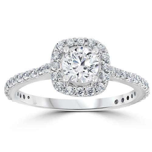 Platinum 1 1/5ct TDW Cushion Halo Round Diamond Engagement Ring (G/H, I1-I2)