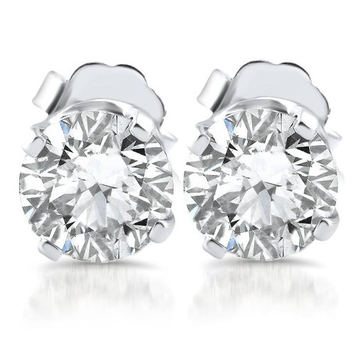 1.10ct Diamond Studs 14k White Gold Clarity Enhanced (E, SI(2)-I(1))