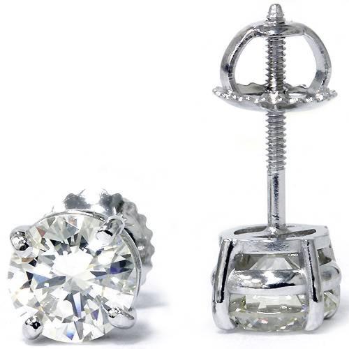1.33ct Diamond Studs 14K White Gold Screw Back Enhanced (G-H, SI)