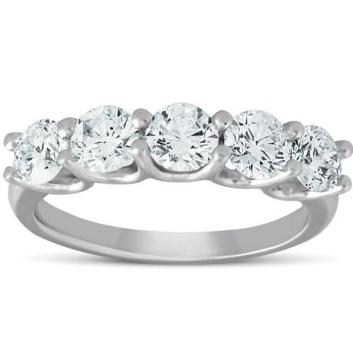 1 1/2 Ct EX3 Lab Grown Diamond Five Stone Wedding Ring 14k White Gold EX3 Lab Grown (((G-H)), SI(1)-SI(2))