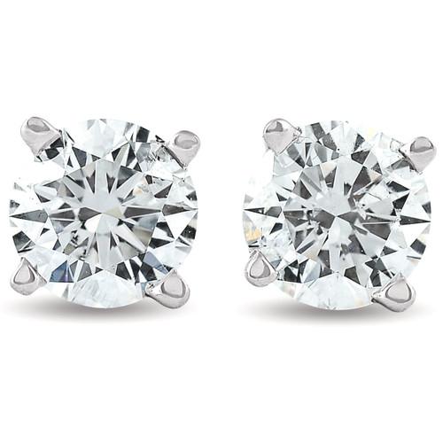 3/4 Ct Diamond Screw Back Studs 14k White Gold Lab Grown Eco Friendly (((G-H)), SI(1)-SI(2))