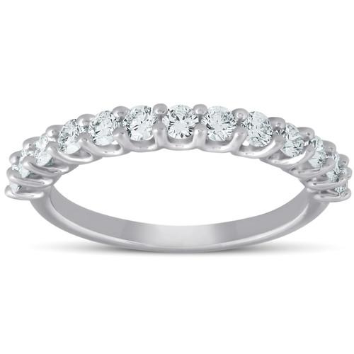 3/4 Ct Diamond Wedding Ring 14k White Gold Lab Grown Eco Friendly ((I-J), SI(1)-SI(2))