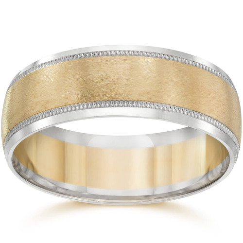 Mens 8mm 14k Gold Two Tone Brushed Wedding Ring Band