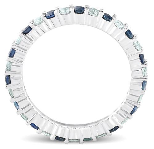 1 cttw Blue Sapphire Diamond Wedding Eternity Ring 14k White Gold (G/H, I1-I2)