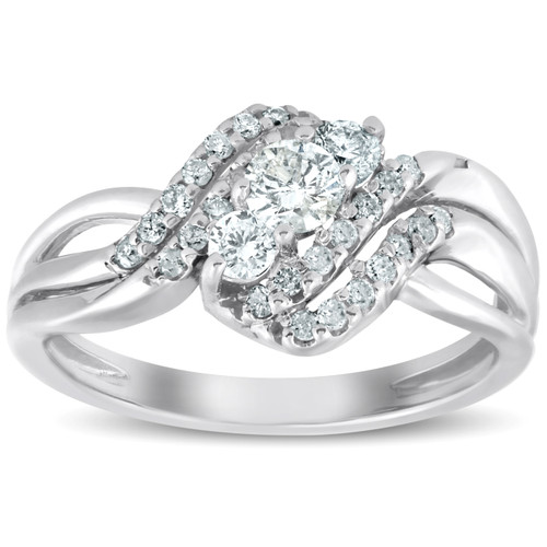 5/8 Ct Three Stone Diamond Engagement Anniversary Multi Row Ring 10k White Gold (G/H, I1-I2)