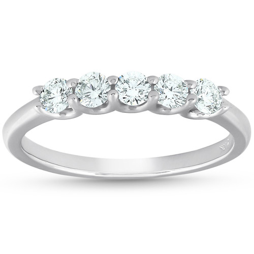 1/2 Ct Five Stone U Prong EX3 Lab Grown Diamond Wedding Ring 14k White Gold (((G-H)), SI(1)-SI(2))