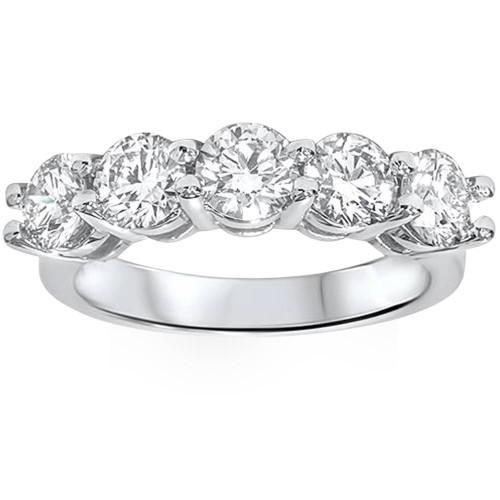 Platinum 2 ct Five Stone Lab Grown Diamond Wedding Ring (((G-H)), SI(2)-I(1))
