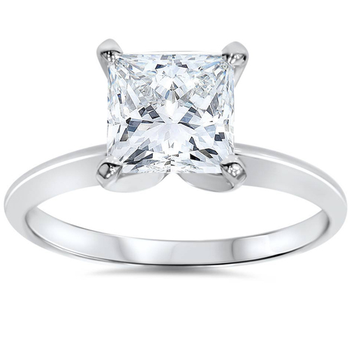 1 1/2 Ct Princess Cut Diamond Solitaire Engagement Ring 14k White Gold (G/H, SI(1)-SI(2))