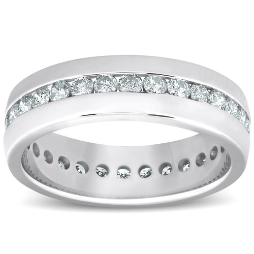 1 1/2 ct Mens Channel Set High Polished Comfort Fit Wedding Band Eternity Ring (G-H, I1-I2)