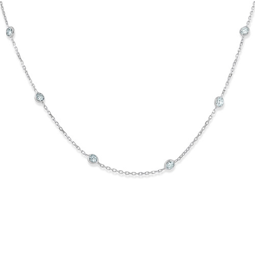"""1 1/2 Ctw Diamond By The Yard Tennis Necklace 14K White Gold 18"""" (G-H, SI)"""