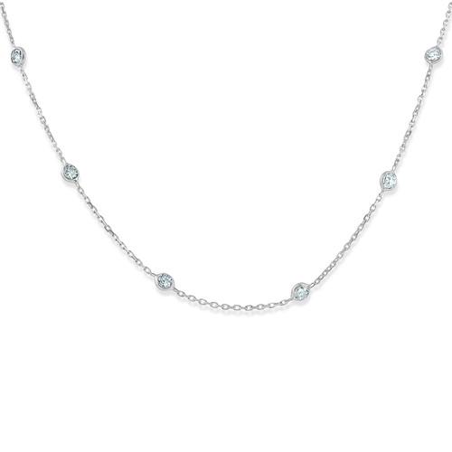 "1 1/2 Ctw Diamond Bezel Station Necklace 14K White Gold 18"" (G-H, SI)"