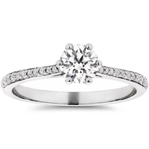 Eco Friendly 5/8ct Lab Created Diamond Engagement Ring 14K White Gold (F, VS)