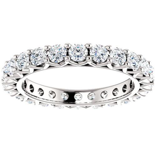 2 Ct Diamond Eternity Ring 14k White Gold Womens Stackable Wedding Band (G/H, I1-I2)