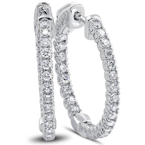 """1.25 Ct Diamond Oval Shape Inside Outside Hoops Earrings 14k White Gold 1"""" (G, VS)"""