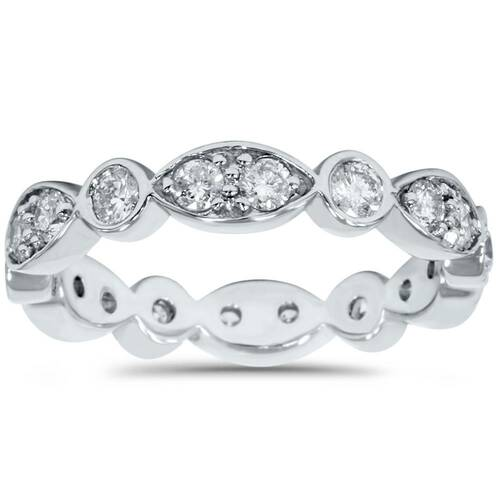 1ct Diamond Stackable Wedding Eternity Anniversary Ring Band 14K White 7 (F, VS)