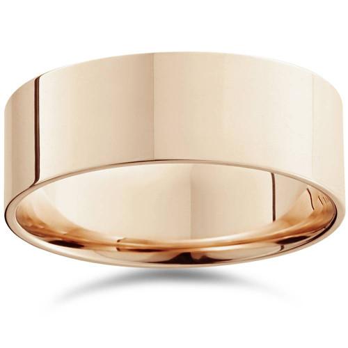 8mm Flat High Polished Comfort Fit Plain Wedding Band 14K Rose Gold Ring