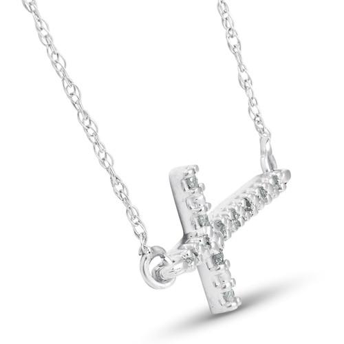 "Diamond Sideways Cross 14K White Gold 3/4"" Wide (G/H, I1-I2)"