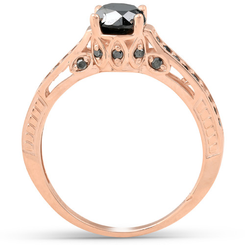 1 1/4ct Vintage Round Cut Black Diamond Engagement Ring 14K Rose Gold (Black, )