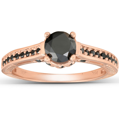 1 1/4ct Vintage Round Cut Black Diamond Engagement Ring 14K Rose Gold (Black, )