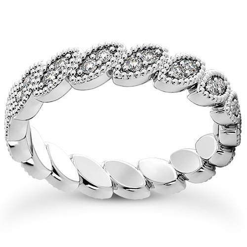 Platinum 1/3 Ct Diamond Stackable Eternity Ring Womens Wedding Band Vintage (G/H, I1-I2)
