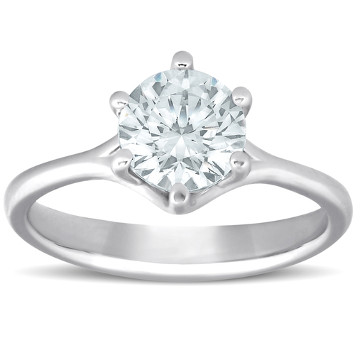 1 Ct Round Diamond Engagement Six Prong Solitaire Ring 14k White Gold Enhanced (G/H, SI(1)-SI(2))