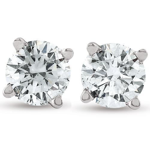 1/2Ct Diamond Screwback Studs Lab Grown Diamond Eco Friendly 14K White Gold ((H-I), VS/SI)