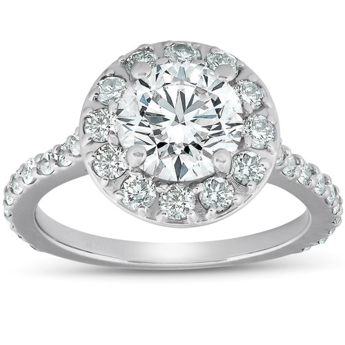 3 Ct Diamond Halo Engagement Ring 14k White Gold (G/H, SI(1)-SI(2))
