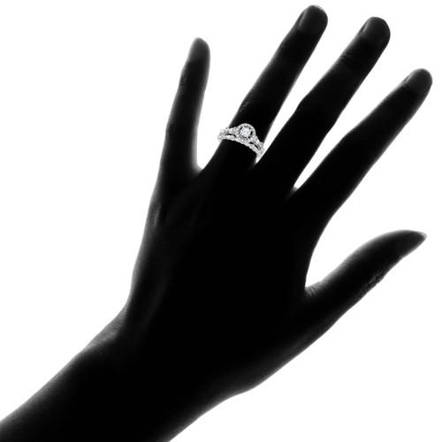 1/2CT Halo Diamond Engagement Wedding Ring Set 14K White Gold (H/I, I1)