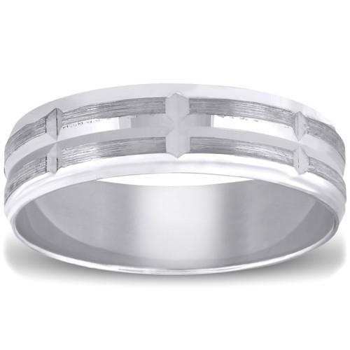 Mens 10k White Gold Ring Brushed Hand Carved Wedding Band