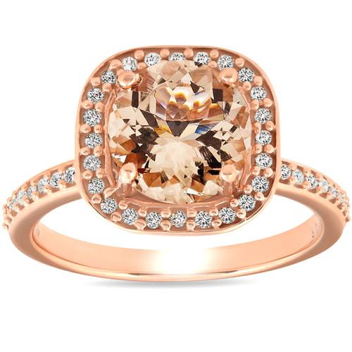 2 Ct Morganite & Diamond Cushion Halo Engagement Ring 14k Rose Gold (H/I, I1-I2)
