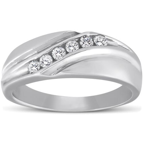 Platinum Diamond 1/4 Ct High Polished Mens Ring Wedding Band (G/H, I1-I2)