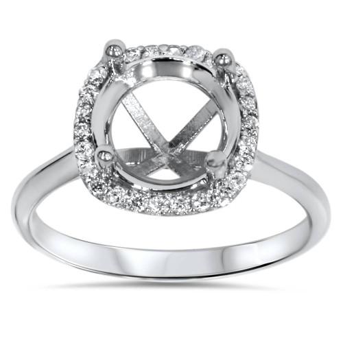 Cushion Halo Diamond Engagement Ring Setting 14K White Gold (H/I, SI2-I1)