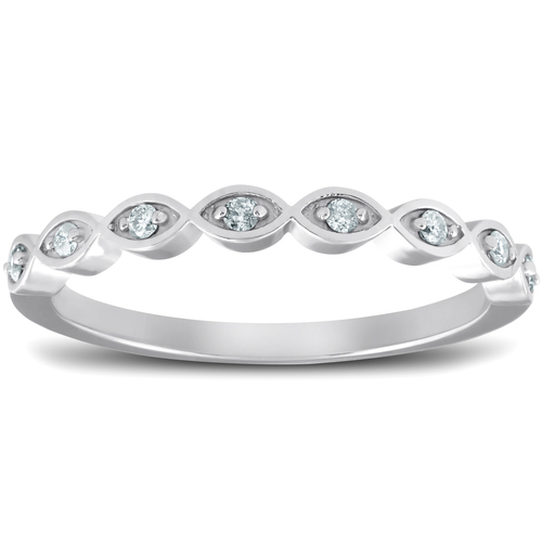 Diamond Wedding Ring Womens Stackable 10k White Gold Anniversary Band (G/H, I1-I2)