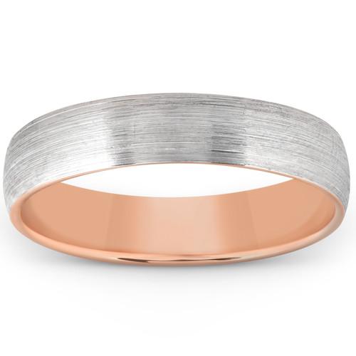 Brushed Rose Gold Two Tone Mens 5MM Dome Wedding Band Plain Polished Ring 10k