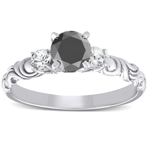 1 1/14 Ct Black Diamond Three Stone Vintage Engagement Ring 14k White Gold (H/I, I1-I2)