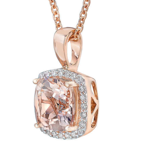 Morganite Cushion Halo Diamond Pendant