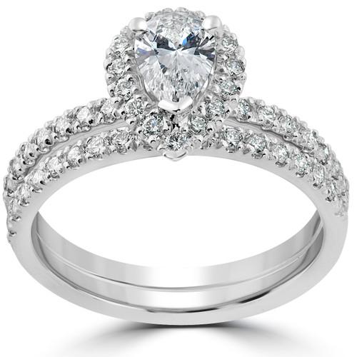1 5/8 Ct Pear Shape Halo Diamond Engagement Wedding Ring Set 14k White Gold (G, SI2-I1)