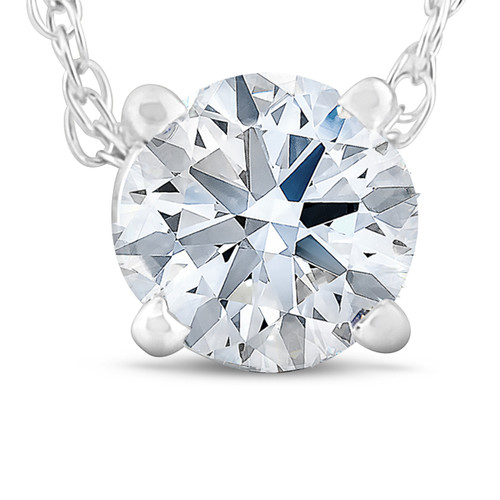 3/8 Ct Floating Diamond Solitaire Pendant in 14k White or Yellow Gold (J, I2)