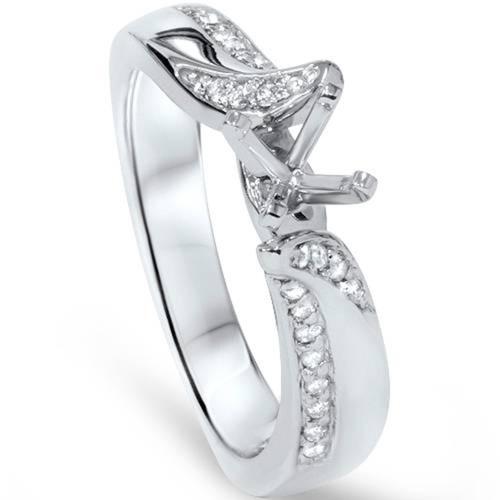 1/8ct Diamond Engagement Setting 14K White Gold (G/H, SI1-SI2)